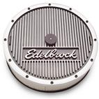 Edelbrock-4207-Elite Series; Aluminum Air Cleaner; Round; w/5.125 Air Horn; 14 in. Dia. w/3 in. Element; w/Edelbrock Name; Not For Sale Or Use On Pollution Controlled Motor Vehicles;